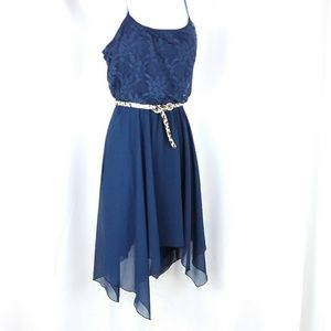Speechless Dresses - Navy asymmetrical summer fairy hem dress
